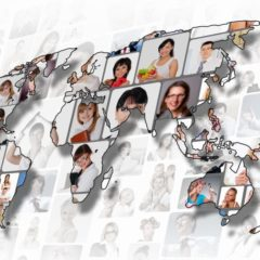 World map background with people portraits on it